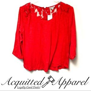 NWT Lucky Brand Red Lace Shoulder Shirt Plus Size